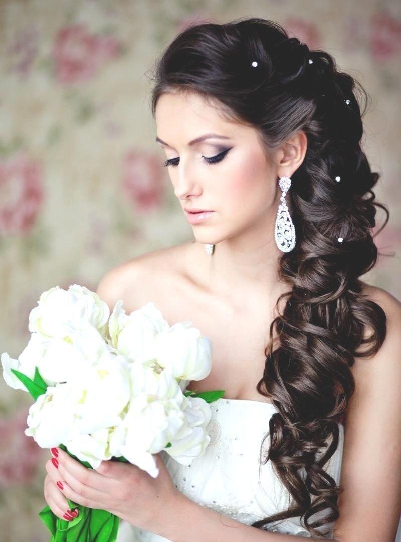 Фото свадебные прически на длинные волосы без фаты